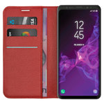 Leather Wallet & Card Holder Case for Samsung Galaxy S9 Plus - Red